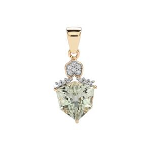 Alpine Cut Prasiolite Pendant with White Zircon in 10K Gold 4.59cts