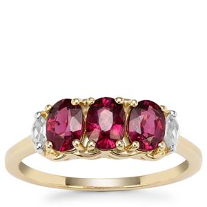 Comeria Garnet Ring with White Zircon in 9K Gold 1.95cts