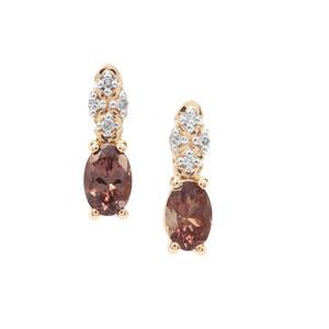 Miova Loko Garnet & Diamond 9K Gold Earrings ATGW 1.15cts