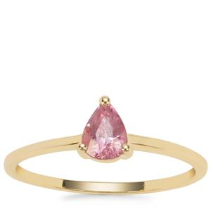 Padparadscha Sapphire Ring in 9K Gold 0.64ct