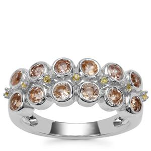Ceylon Zircon Ring with Yellow Sapphire in Sterling Silver 2.06cts