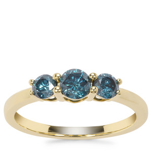 Blue Diamond Ring in 9K Gold 0.79ct