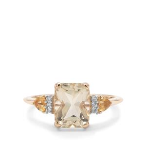 Serenite, Diamantina Citrine Ring with White zircon in 9K Gold 2.29cts