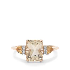 Serenite, Diamantina Citrine & White zircon 9K Gold Ring ATGW 2.29cts