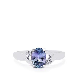 Bi-Color Tanzanite Ring with Diamond in 10k White Gold 1.10cts