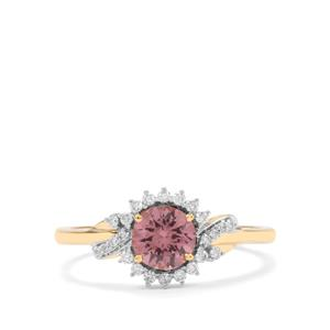 Mahenge Pink Spinel Ring with Diamond in 18K Gold 1cts