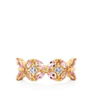 Imperial Pink Topaz Ring with Diamond in 9K Gold 1.12cts