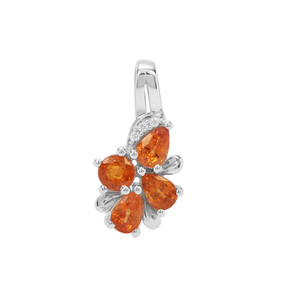 Mandarin Garnet Pendant with White Zircon in Sterling Silver 2.42cts