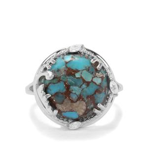Egyptian Turquoise & White Zircon Sterling Silver Ring ATGW 7.26cts