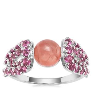 Rhodochrosite Ring with Rajasthan Garnet in Sterling Silver 3.70cts