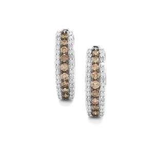 Champagne Diamond Earrings with White Diamond in Sterling Silver 1.25cts