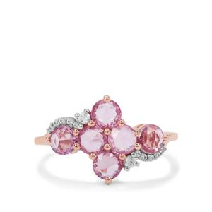 Rose Cut Purple Sapphire Ring with Ratanakiri Zircon in 9K Rose Gold 1.90cts