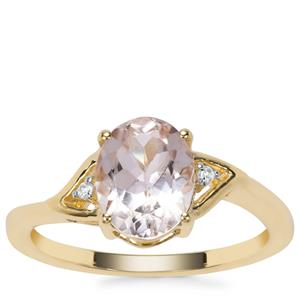 Zambezia Morganite Ring with White Zircon in 9K Gold 1.64cts