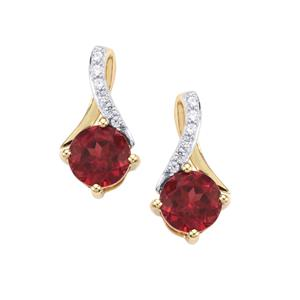 Malawi Garnet Earrings with White Zircon in 9K Gold 1.77cts