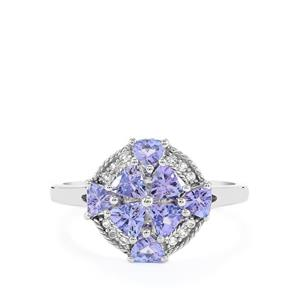 Tanzanite Ring with White Topaz in Platinum Plated Sterling Silver 1.35cts