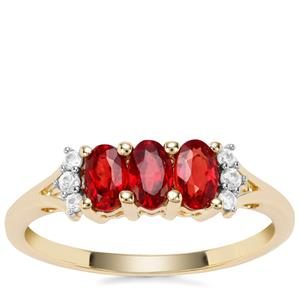 Songea Ruby Ring with White Zircon in 9K Gold 1.04cts
