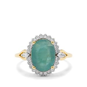 Grandidierite Ring with Diamond in 18K Gold 3cts