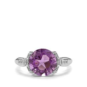 Lone Star Zambian Amethyst & White Topaz Sterling Silver Ring ATGW 3.86cts