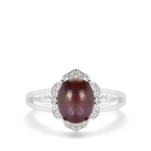 Bharat Star Ruby Ring with White Zircon in Sterling Silver 4.08cts