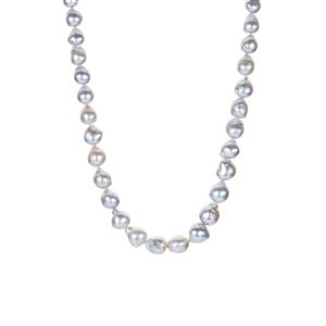 Akoya Cultured Pearl Graduated Sterling Silver Necklace