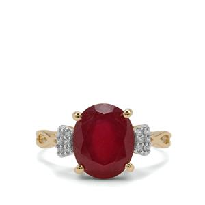 Malagasy Ruby Ring with White Zircon in 9K Gold 6.03cts (F)