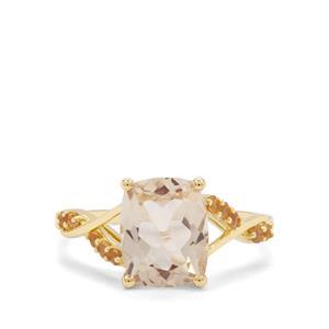 Serenite & Diamantina Citrine 9K Gold Ring ATGW 2.96cts