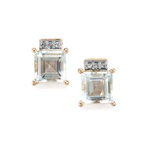 Pedra Azul Aquamarine & Diamond 9K Gold Earrings ATGW 2cts