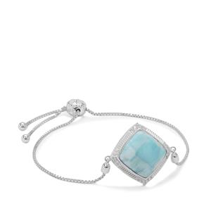 Larimar Slider Bracelet with White Zircon in Sterling Silver 11.10cts