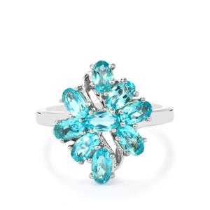 2.34ct Madagascan Blue Apatite Sterling Silver Ring