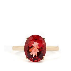 Mongolian Red Andesine Ring in 10k Gold 3.29cts