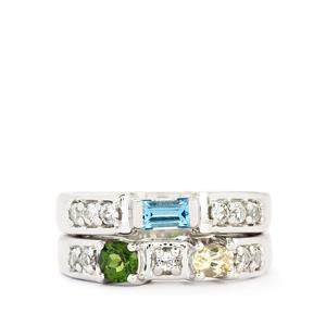 Multi-Colour Gemstones Sterling Silver set of 2 Rings ATGW 1.30cts