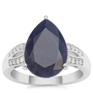 Bharat Blue Sapphire Ring with White Zircon in Sterling Silver 7.33cts
