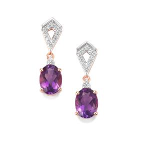 Moroccan Amethyst Earrings with White Zircon in Rose Gold Vermeil 2.47cts