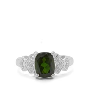 Chrome Diopside & White Zircon Sterling Silver Ring ATGW 2.24cts