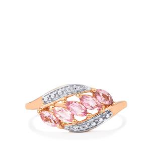 Imperial Pink Topaz Ring with Diamond in 9K Rose Gold 0.77ct