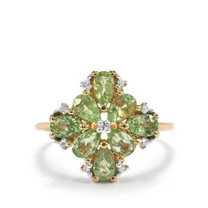 Paraiba Tourmaline Ring with White Zircon in 10K Gold 1.78cts