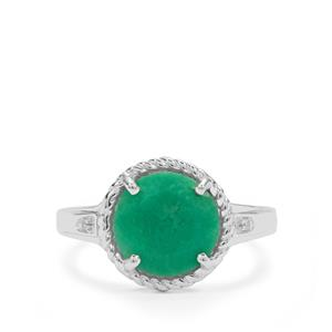 Chrysoprase Ring with White Zircon in Sterling Silver 2.80cts