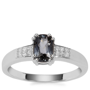 Mogok Silver Spinel Ring with White Zircon in Sterling Silver 1.05cts