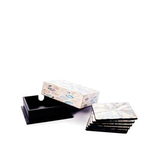 Santorini Mother of Pearl Set of 6 Square Coasters