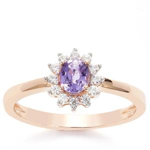 Natural Purple Sapphire & White Zircon 9K Gold Ring ATGW 0.65cts