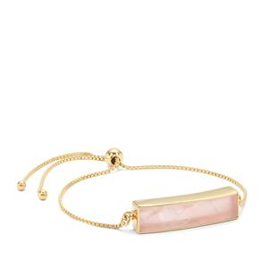 Rose Quartz Slider Bar Bracelet in Gold Plated Sterling Silver 10.40cts
