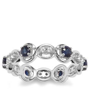 Kanchanaburi Sapphire Ring with White Topaz in Sterling Silver 1.07cts