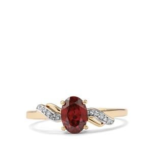 Zanzibar Zircon Ring with Diamond in 9K Gold 1.24cts