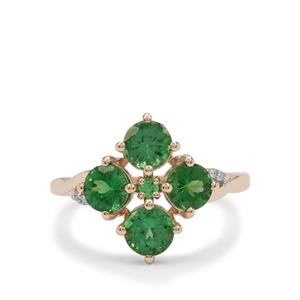 Tsavorite Garnet Ring with Diamond in 9K Gold 2.05cts