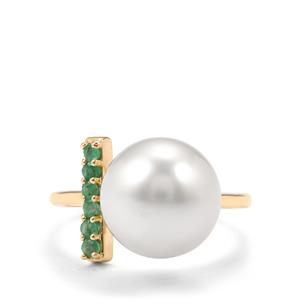 South Sea Cultured Pearl Ring with Zambian Emerald in 9K Gold (11mm)