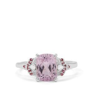 Natural Brazilian Kunzite, Pink Tourmaline & White Zircon Sterling Silver Ring ATGW 3.16cts