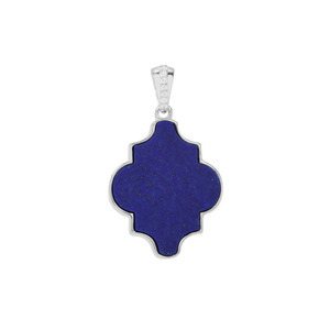 Sar-i-Sang Lapis Lazuli Pendant with White Zircon in Sterling Silver 15.31cts