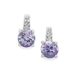Tanzanite & White Topaz Sterling Silver Earrings ATGW 1.30cts