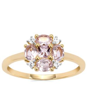 Imperial Pink Topaz Ring with White Zircon in 10K Gold 0.97ct