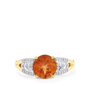 Oregon Sunstone Ring with Diamond in 14K Gold 1.61cts